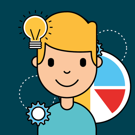 boy chart diagram and idea bulb analytics business vector illustration Illustration