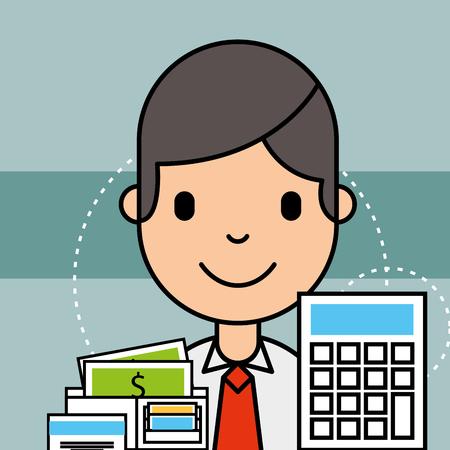 boy calculator and money analytics business vector illustration
