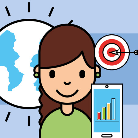 girl phone chart and target analytics business vector illustration Illusztráció
