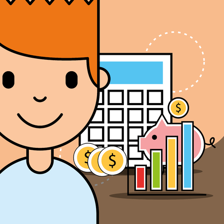 boy calculator piggy money analytics business vector illustration