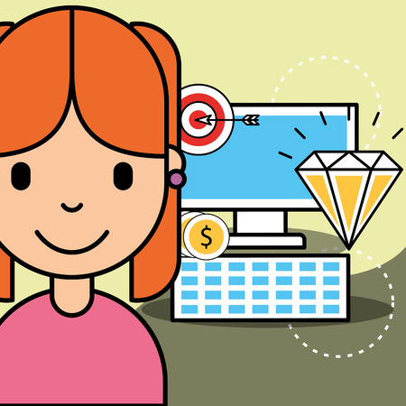 girl computer money strategy wealth analytics business vector illustration