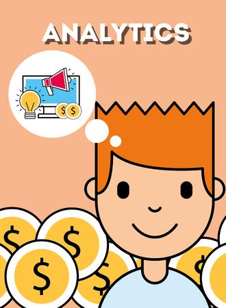 boy thinking digital payment analytics business vector illustration