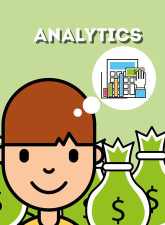 boy thinking report economy analytics business vector illustration