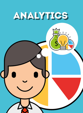 boy thinking money idea analytics business vector illustration