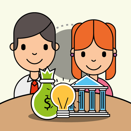 kids bank money and idea innovation analytics business vector illustration