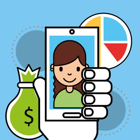 hand with phone girl money economy analytics business vector illustration Иллюстрация