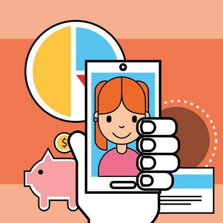 hand with phone girl piggy bank credit card analytics business vector illustration