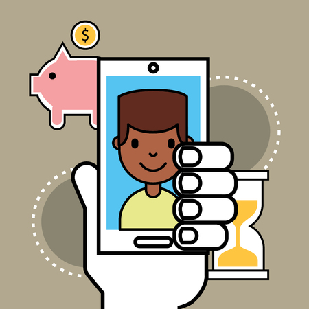 hand holding phone boy piggy bank analytics business vector illustration