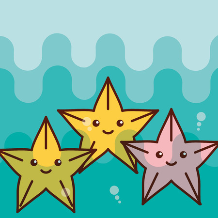 starfish sea life cartoon ocean vector illustration  イラスト・ベクター素材