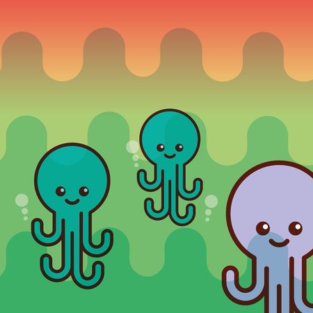 octupus sea life cartoon creature vector illustration