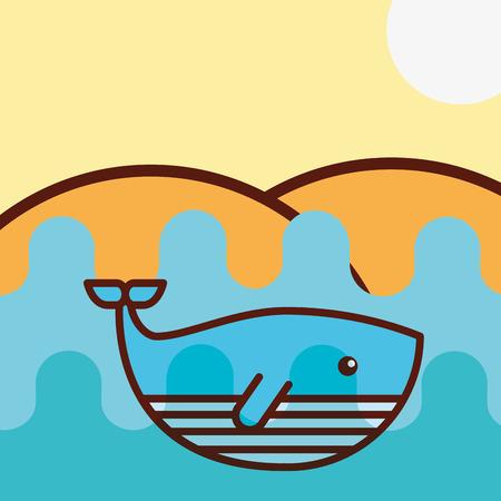 whale sea life cartoon ocean vector illustration 일러스트