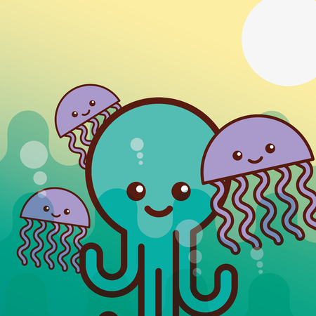 octupus jellyfish sea life cartoon vector illustration Archivio Fotografico - 101971090