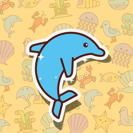 cetacean dolphin sea life cartoon background vector illustration