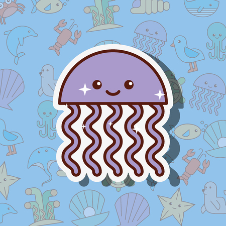 jellyfish sea life cartoon background vector illustration