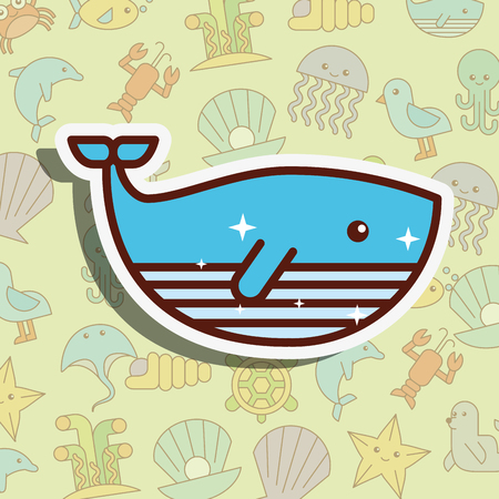 whale sea life cartoon background vector illustration