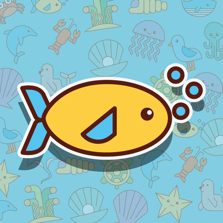 fish sea life cartoon background vector illustration Illusztráció