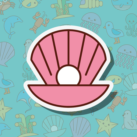 clam pearl sea life cartoon background vector illustration  イラスト・ベクター素材