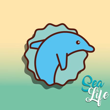 cetacean dolphin sea life cartoon animal underwater vector illustration