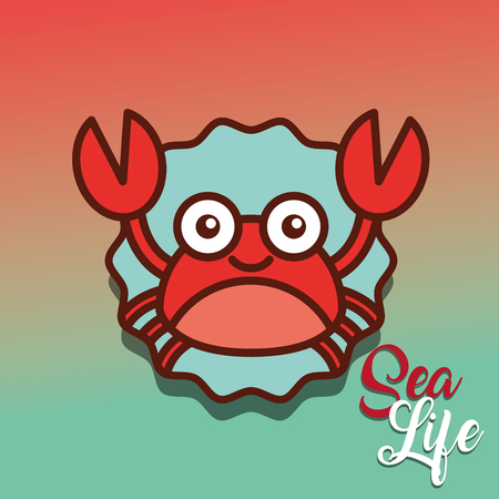 crab crustacean sea life cartoon animal underwater vector illustration