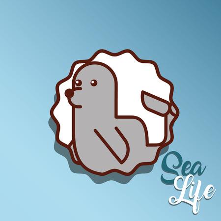 monk seal sea life cartoon animal underwater vector illustration 일러스트