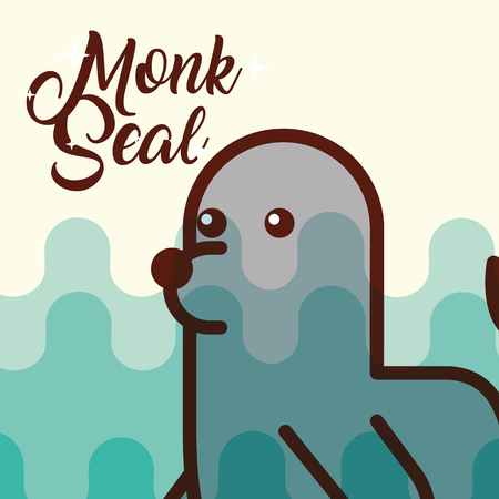 monk seal sea life cartoon fauna poster vector illustration Ilustrace