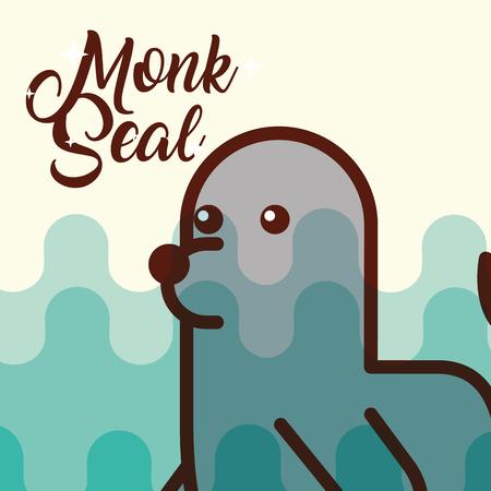 monk seal sea life cartoon fauna poster vector illustration Illustration
