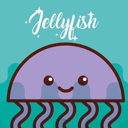 jellyfish sea life cartoon fauna poster vector illustration