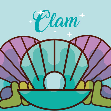 clam sea life cartoon fauna poster vector illustration Ilustrace
