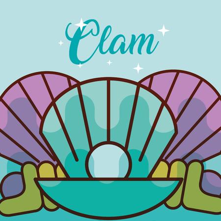 clam sea life cartoon fauna poster vector illustration Illustration