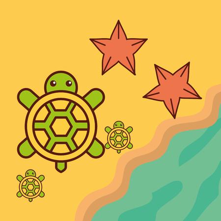 turtles starfish beach sea life cartoon vector illustration Vettoriali
