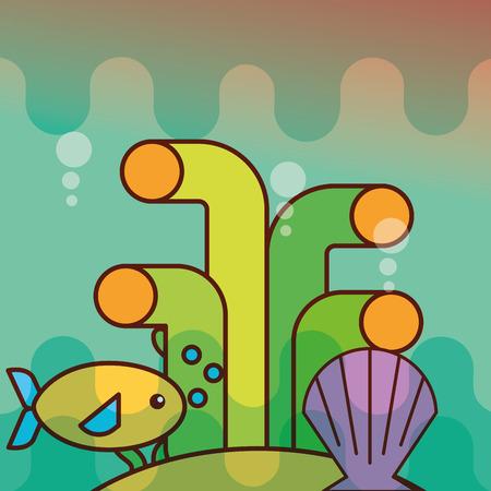 clam fish coral sea life cartoon vector illustration