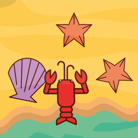 lobster clam starfish beach sea life cartoon vector illustration