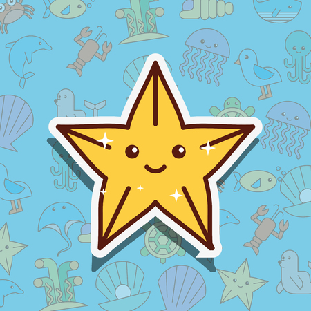 starfish sea life cartoon background vector illustration