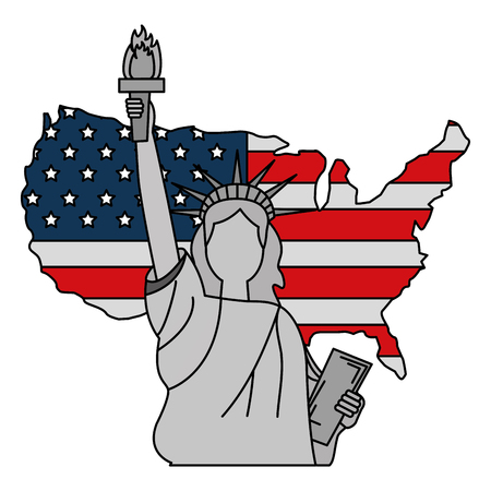 liberty statue with USA map vector illustration design