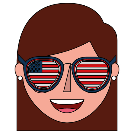 young woman with USA glasses vector illustration design Banque d'images - 101972975