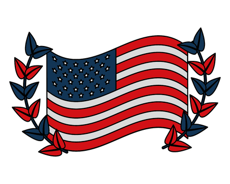 USA flag with wreath vector illustration design