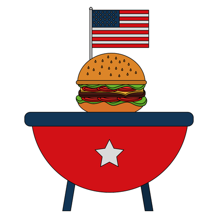 barbeque grill with USA flag and hamburger vector illustration design Vectores