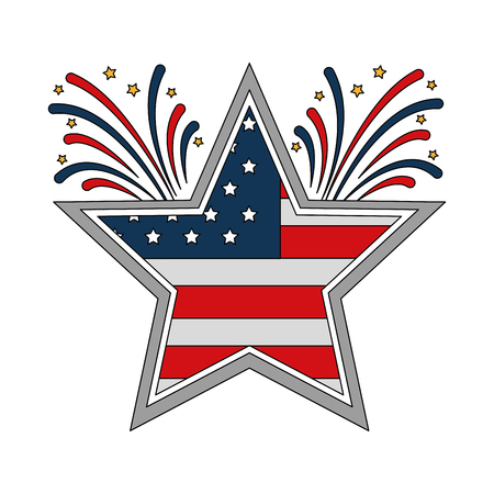 star with wreath USA and fireworks emblem vector illustration design 일러스트