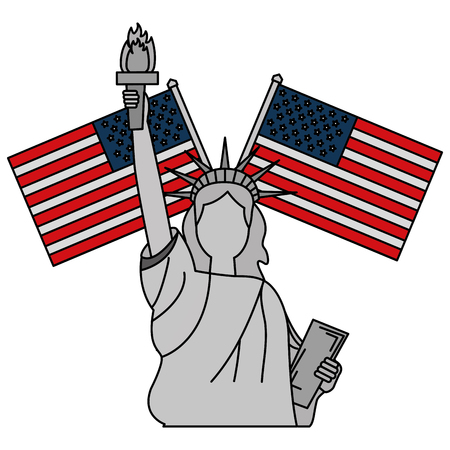 liberty statue with usa flags crossed vector illustration design Illustration