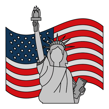liberty statue with usa flag vector illustration design Stock Vector - 101972990