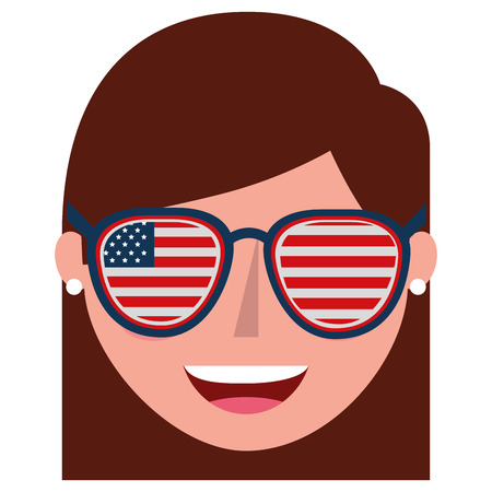 young woman with USA glasses vector illustration design Banque d'images - 101973044