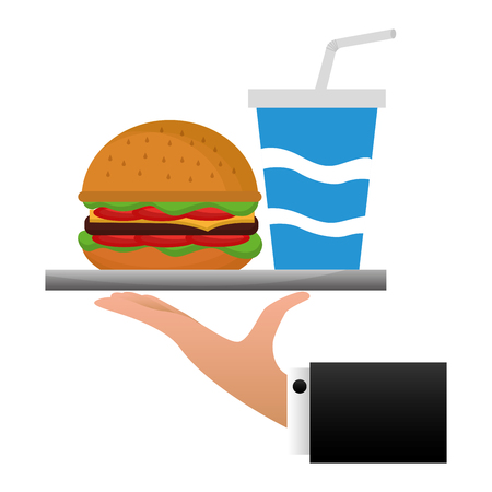 hand lifting tray with delicious hamburger vector illustration design