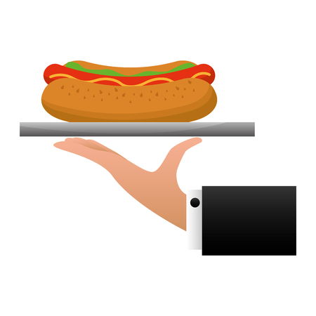 hand waiter lifting tray with hot dog vector illustration design