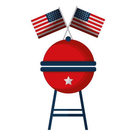 barbeque grill with USA flags vector illustration design