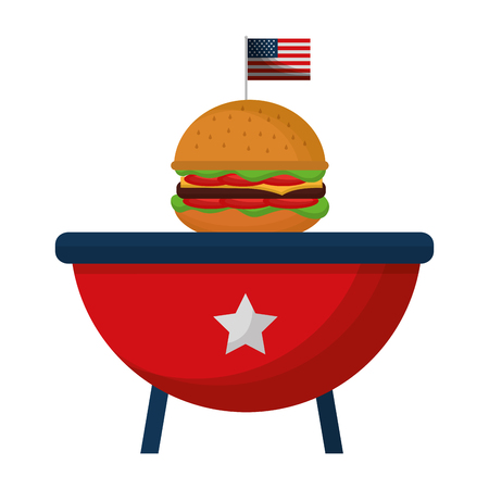 barbeque grill with USA flag and hamburger vector illustration design