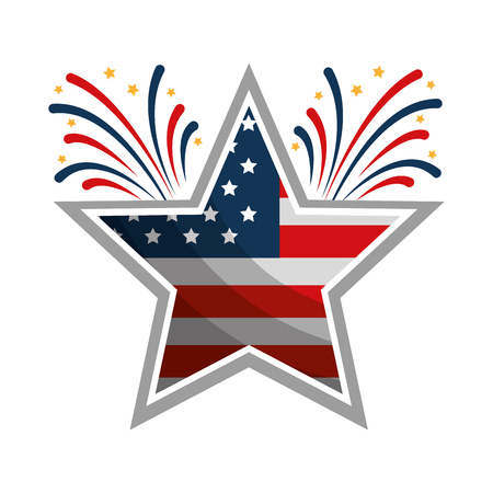 star with wreath USA and fireworks emblem vector illustration design