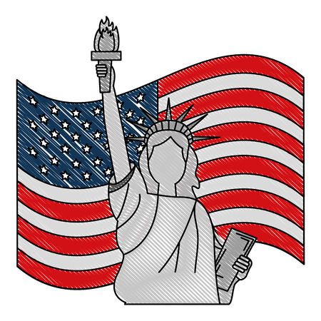 statue of liberty and flag american symbol vector illustration