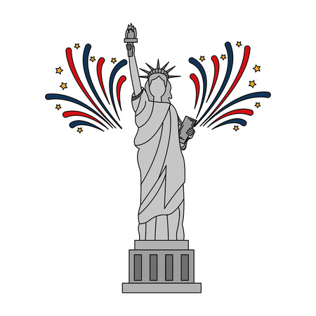 liberty statue with fireworks vector illustration design Stock Vector - 101977146