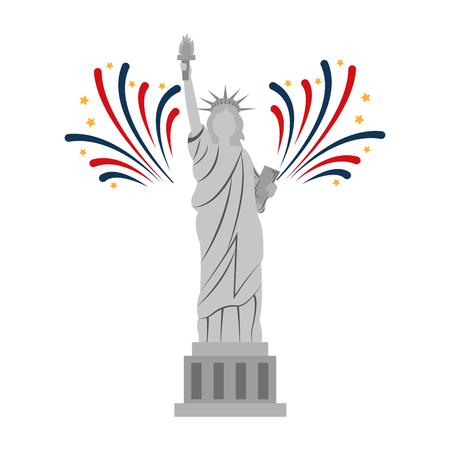 liberty statue with fireworks vector illustration design Stock Vector - 101977153