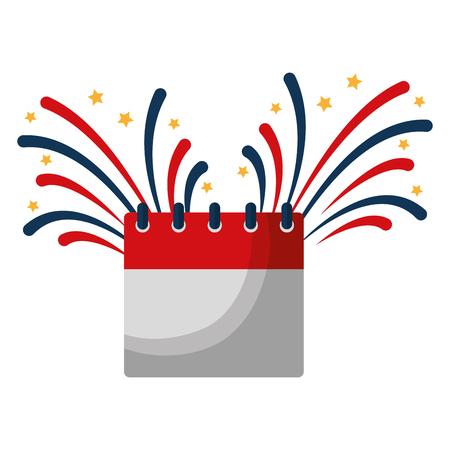 calendar with fireworks splash vector illustration design